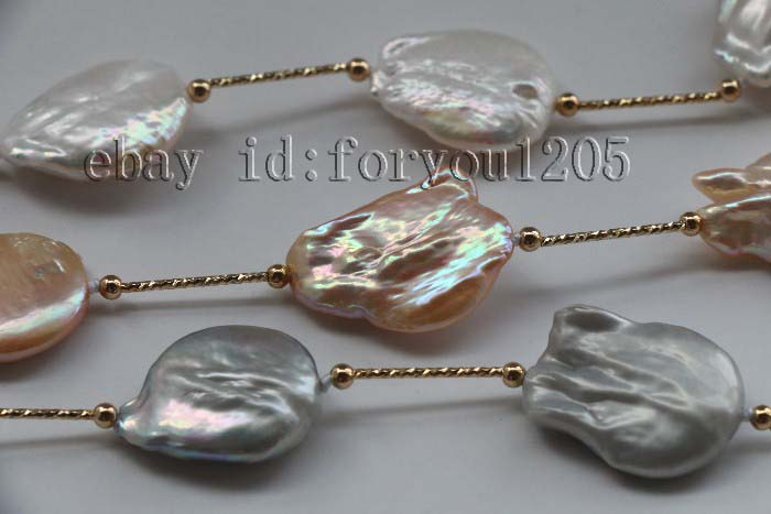 """21/"""" 3row Natural White Pink Gray Baroque Reborn Keshi Pearl Necklace chain f2289"""
