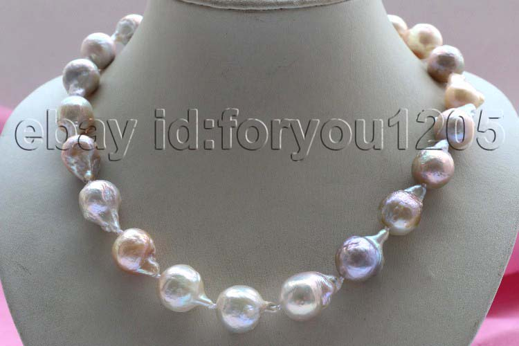 Natural 22mm Multicolor Baroque Edison Reborn Keshi Pearl necklace 14k #f2424!
