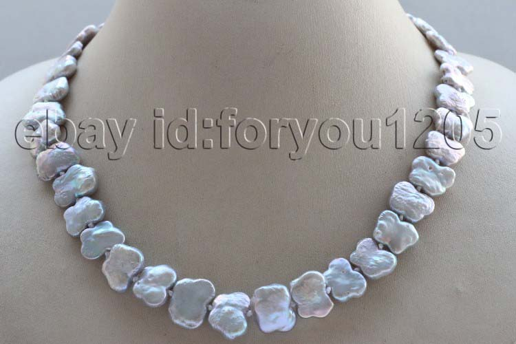 "18/"" Genuine Natural 15mm Gray Reborn Keshi Pearl Necklace"